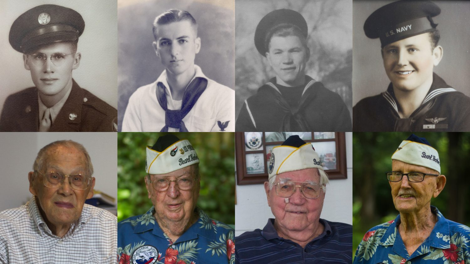"""(From left) Francis """"Dutch Scholtz, Frank Emond, Duane Reyelts and Cass Phillips, all survivors of the attack on Pearl Harbor."""