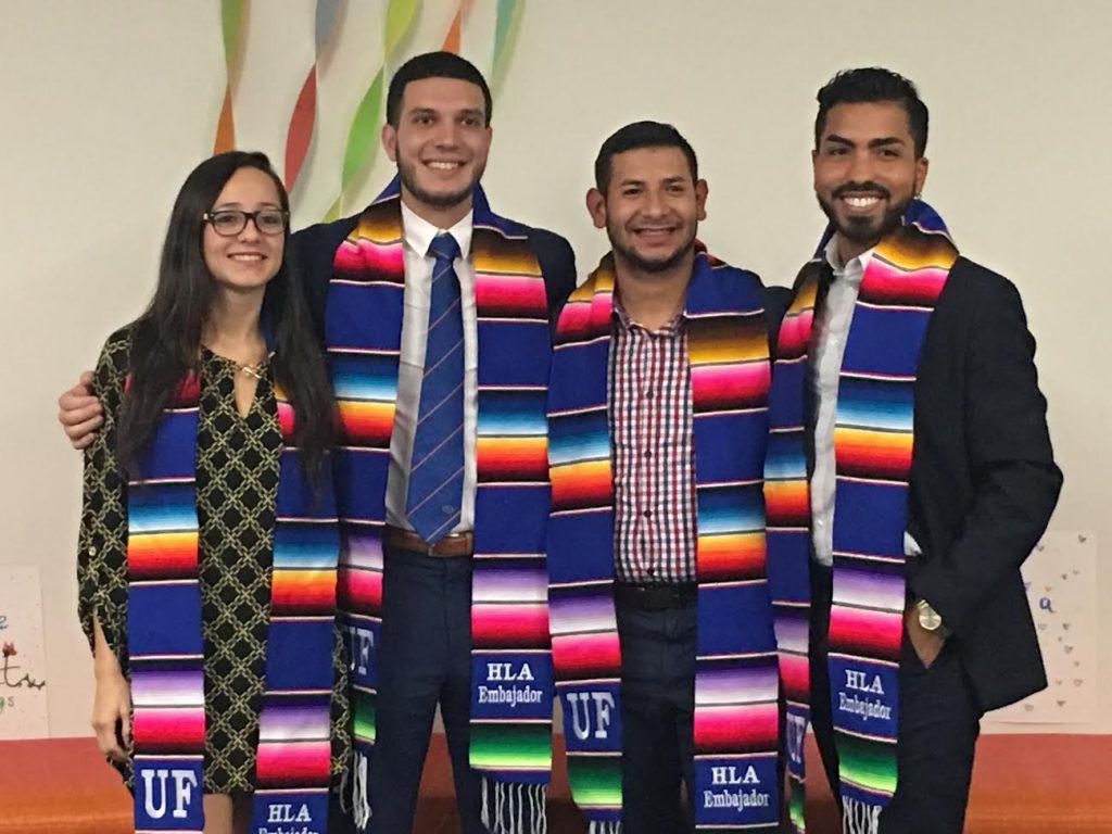 HLA honored fall graduates and former student ambassadors from left: Melisa Lopez, Kelvin Dominguez, Jose Abastida and Jacob Diego Terán, at Wednesday's ceremony.