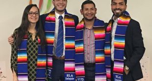 HLA honored fall graduates and former student ambassadors from left: Melisa Lopez, Kelvin Dominguez, Jose Abastida and Jacob Diego Terán, at Wednesday's ceremony (Michelle Tapia/WUFT News).