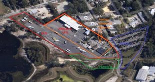 A photo from the Gainesville city staff analysis shows that Parcel A1, the property under dispute, is surrounded by parcels the city owns. (Gainesville City Commission)