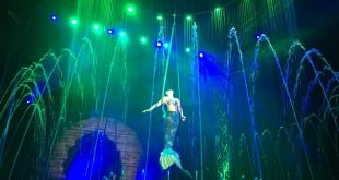A circus performer entertains the crowd at Cirque Italia, a traveling water circus, that is visiting Gainesville this weekend. (Carolina Lafuente/WUFT News)