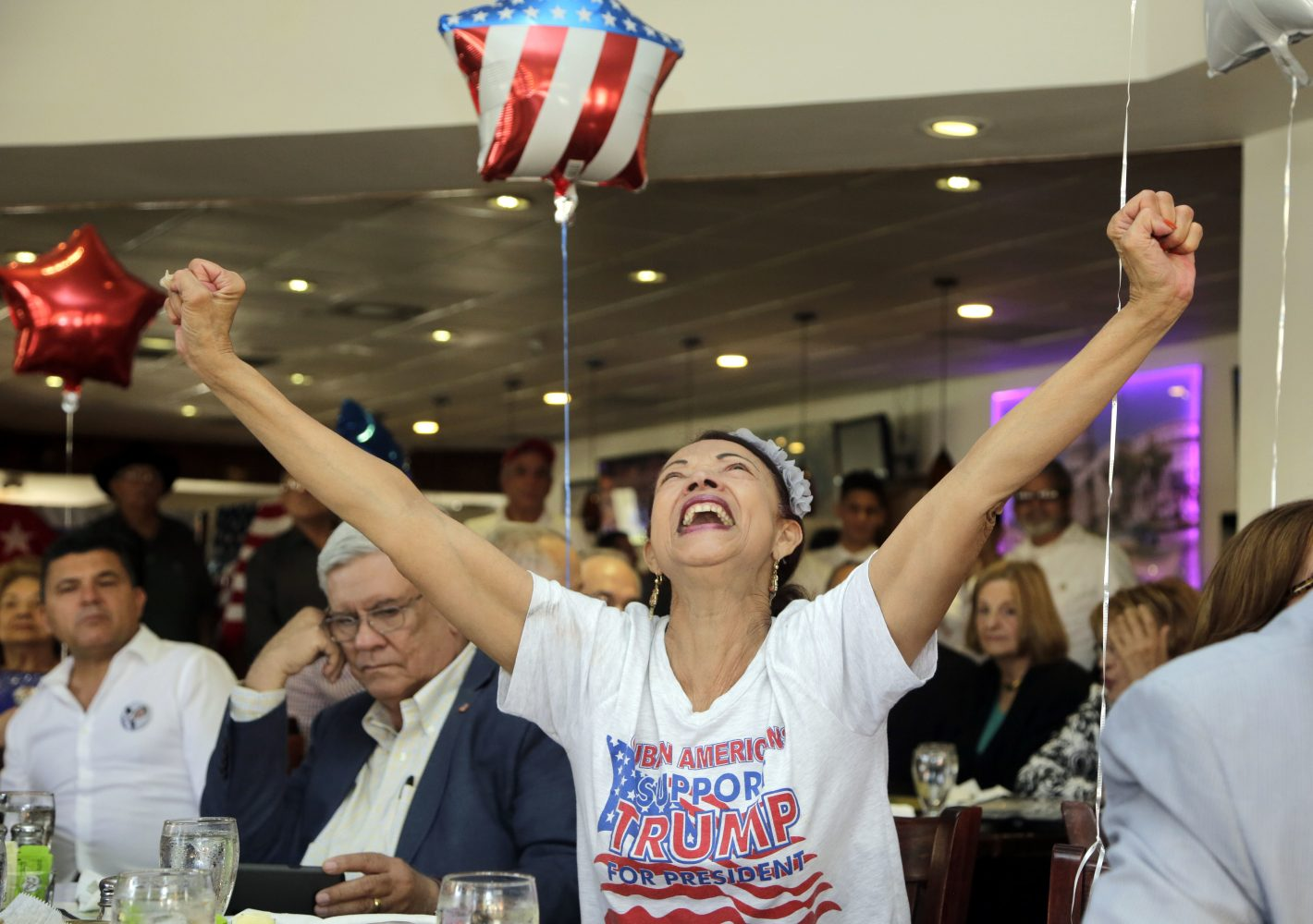 Julia del Rio cheers as she watches a televised broadcast of the presidential inauguration of Donald Trump, Friday, Jan. 20, 2017, during a watch party organized by Hispanas for Trump, in Miami. (AP Photo/Lynne Sladky)