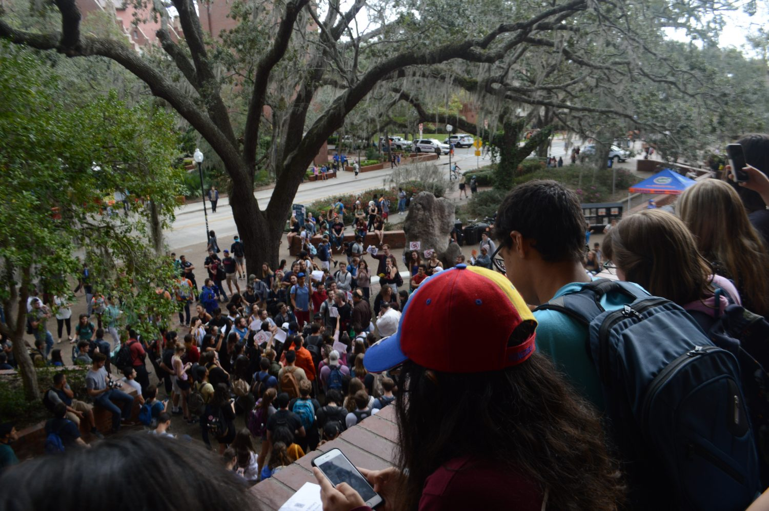 UF students look on from Turlington Hall. (Cecilia Lemus/WUFT News)