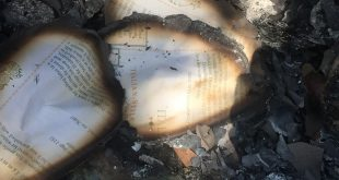 Burned pages are littered among charred remains from other antique booths. (Gabriella Nuñez/WUFT News)