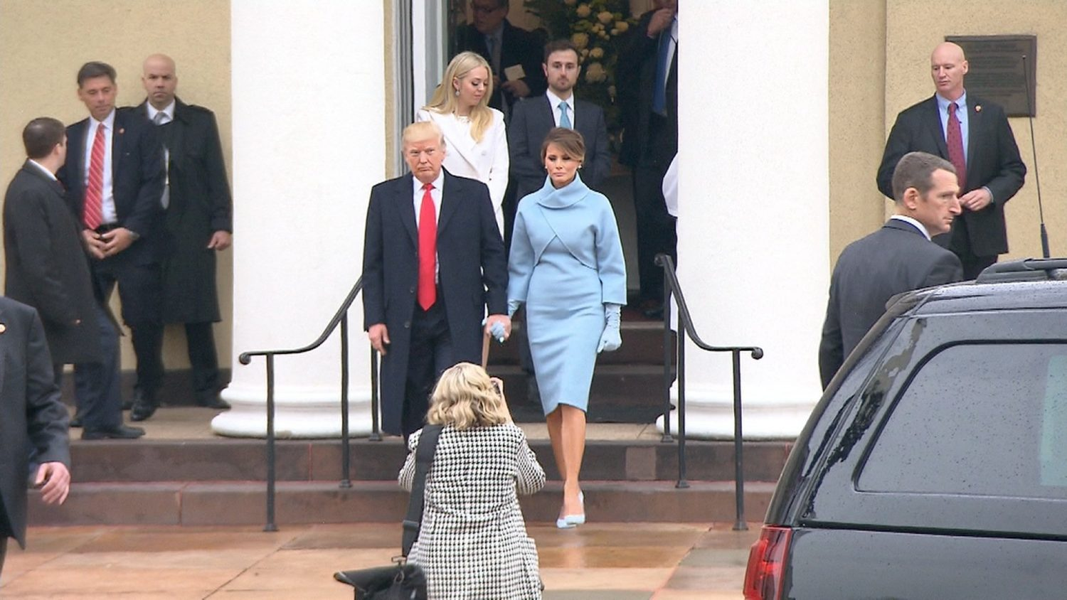 Donald Trump and Melania Trump leaves church to White House
