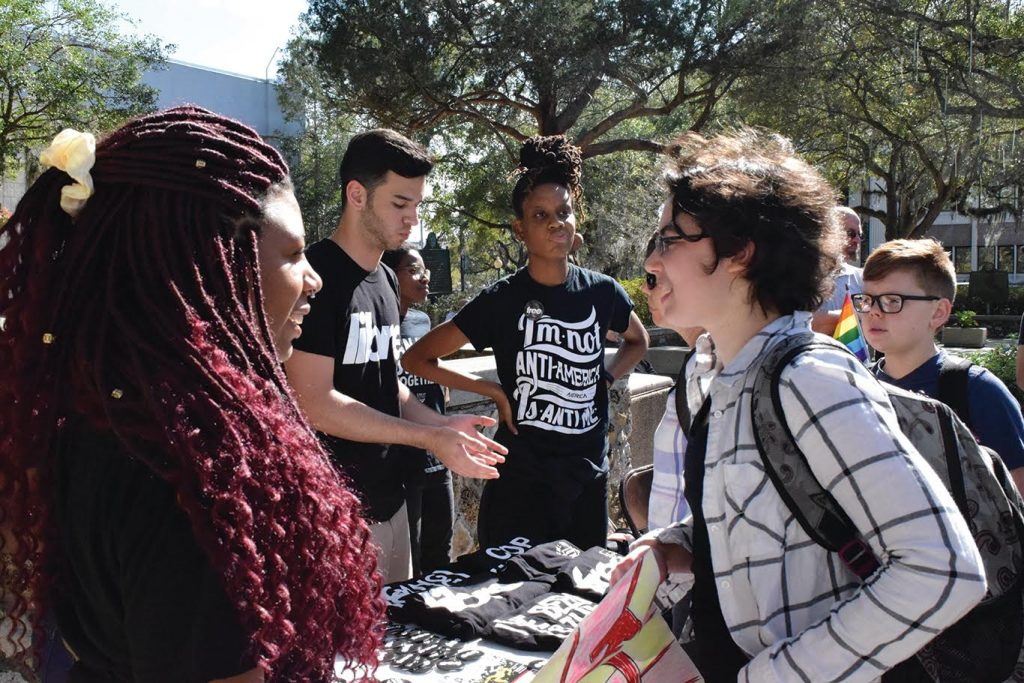 7.Another organization at the event was the Dream Defenders, a statewide Black and Brown youth organization. The group focuses on issues relating to mass incarceration, the school to prison pipeline and ending police brutality (Cindy Lu/WUFT News)