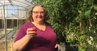 Denise Tieman holds a tomato.