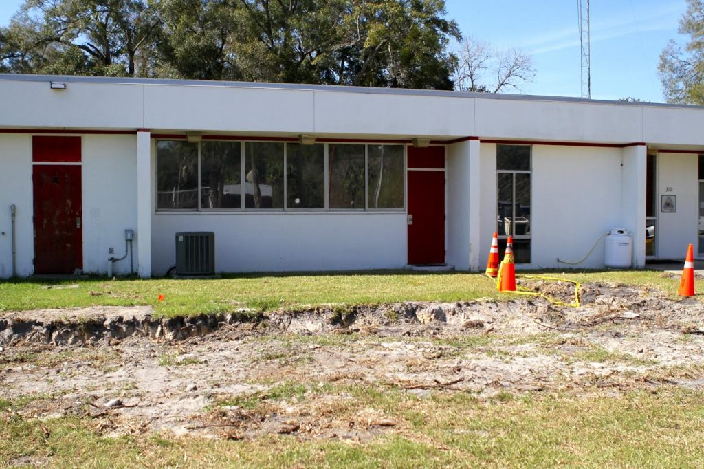 Ground breaking in the yard in front of Newberry Fire Department begins Monday with Tumbleson White Construction, Inc. The city of Newberry contracted the construction company to expand the station in 180 days for $565,000. (Emma Green/ WUFT News)