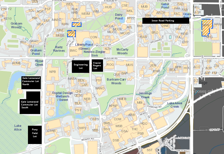 map of uf campus Uf Campus To Lose 600 Parking Spaces As Construction Begins On New map of uf campus