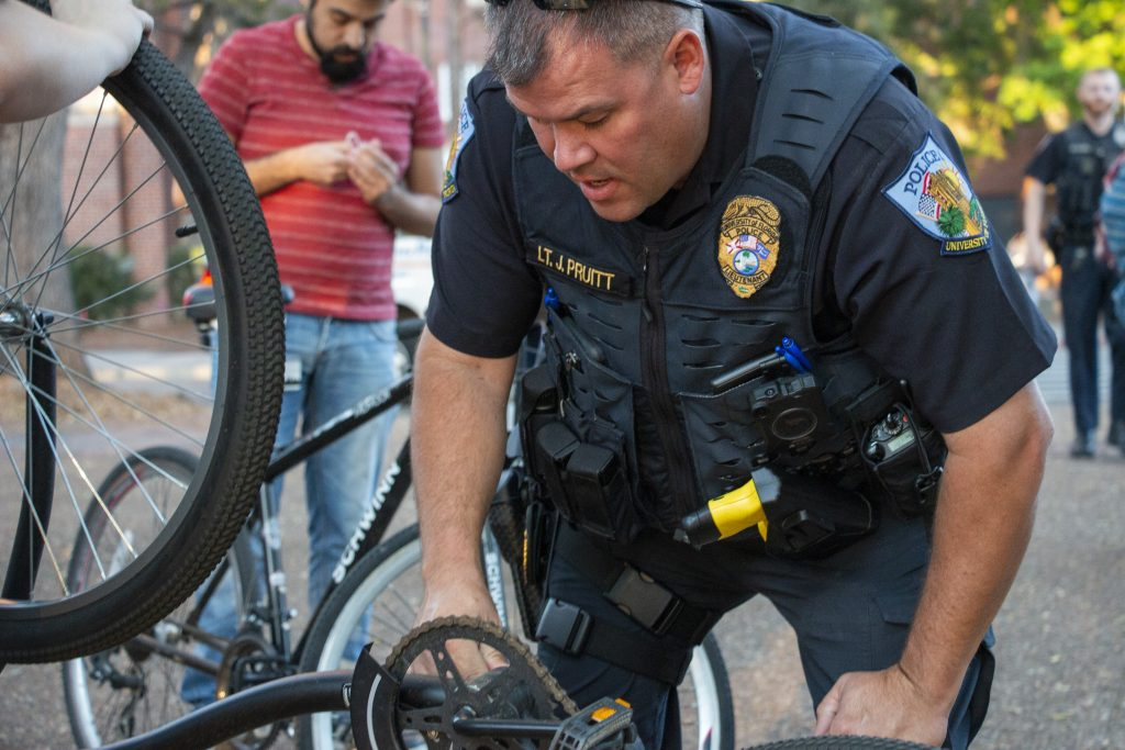 UFPD Officers Give Away Free Bike Lights To Curb Tickets
