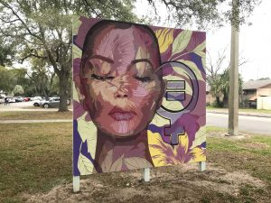 Pam Valcante's most recent mural outside the Martin Luther King Multi-purpose Center.