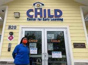 The CHILD Center manager Yalonda Clay stands outside the building