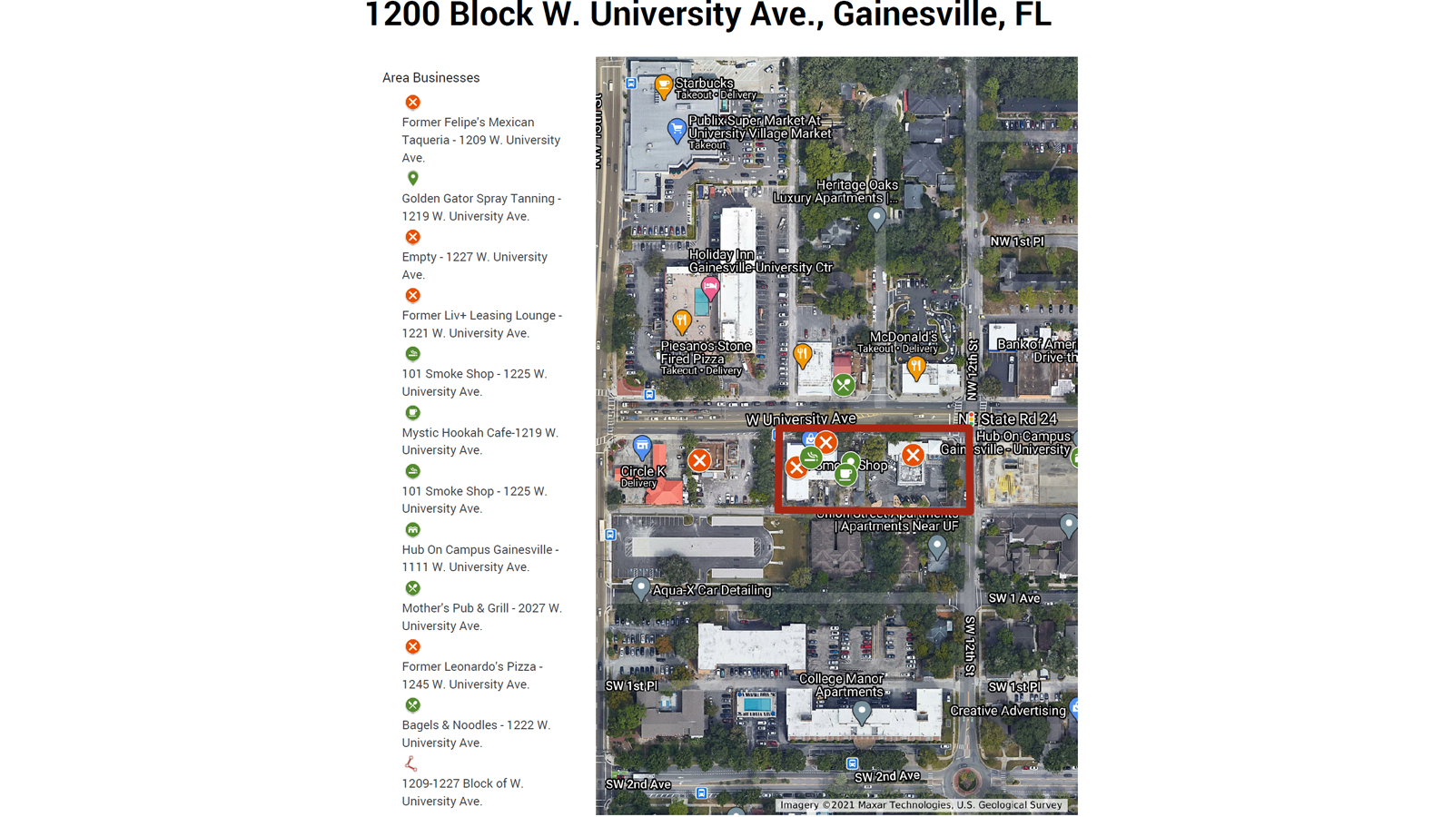A map of the city's plans for development on 1200 University Ave