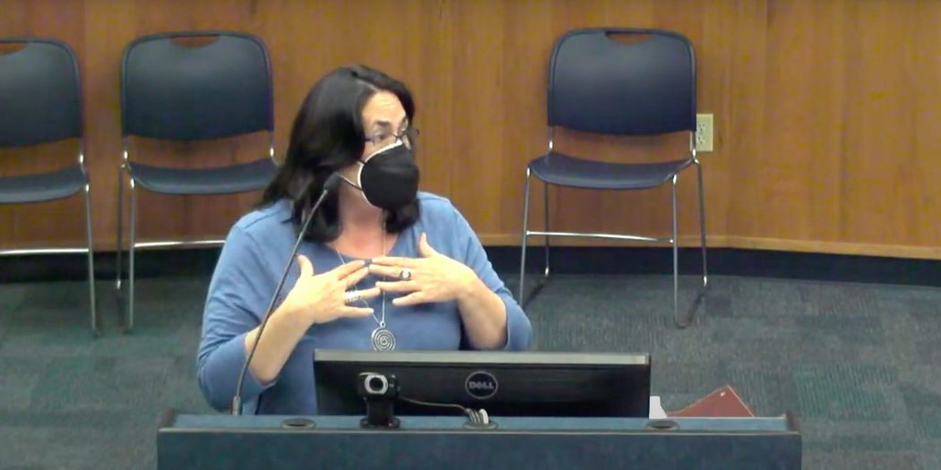 Alachua County Education Association President Carmen Ward addresses the school board.