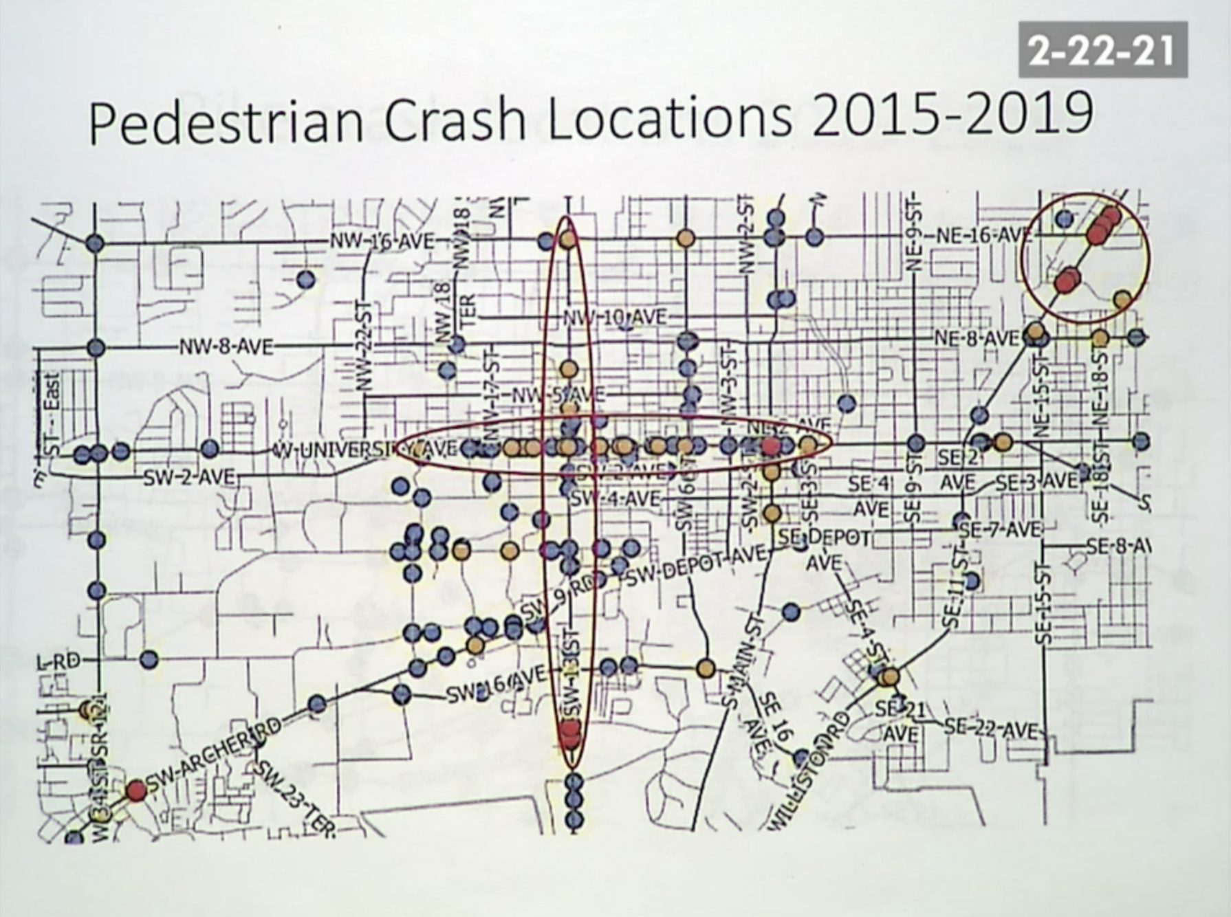 A map of Gainesville showing where pedestrian accidents have occurred