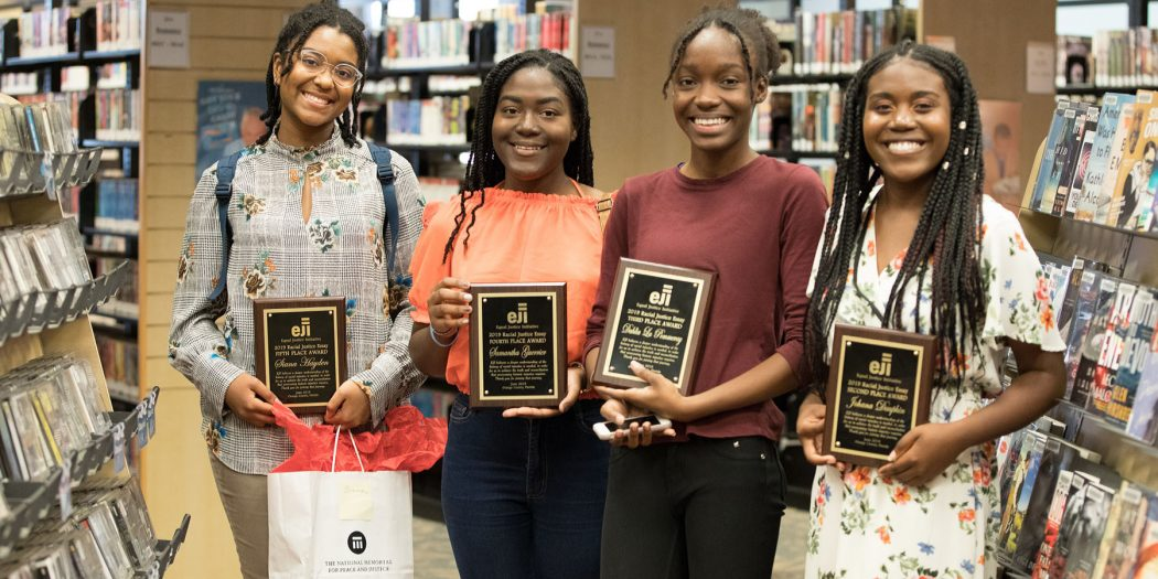 The four winners of the 2019 Equal Justice Initiative Essay Contest are pictured.