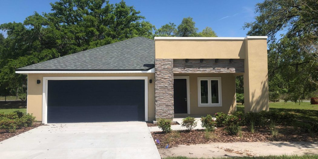 The front of a newly constructed house in Gainesville's Heartwood subdivision.