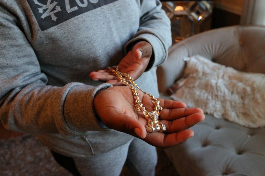 Na'Toniyah Mason holds the necklace her mother gifted her for Christmas in 2019.