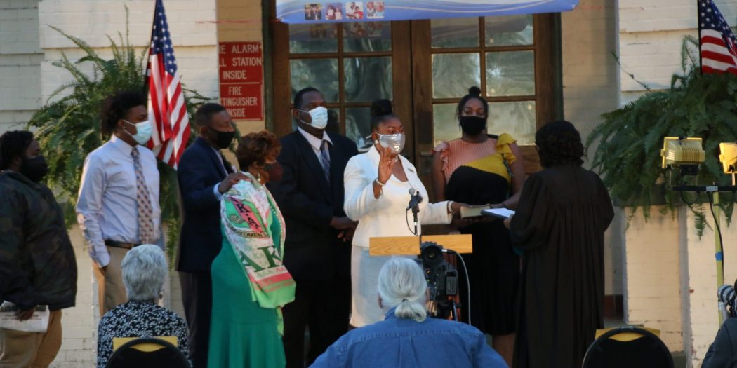 Diyonne McGraw participates in her swearing-in ceremony in November 2020. She is now at the center of a controversy regarding Alachua County School district zoning.