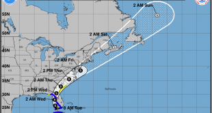The current projection of Tropical Storm Elsa's Path.